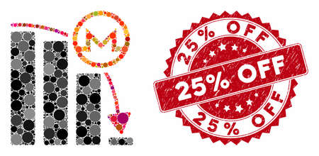 Mosaic Monero falling acceleration graph and distressed stamp seal with 25% Off phrase. Mosaic vector is composed with Monero falling acceleration graph icon and with randomized circle items.