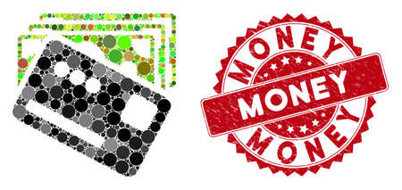 Mosaic money and distressed stamp seal with Money text. Mosaic vector is formed with money icon and with random circle spots. Money stamp seal uses red color, and distress design.