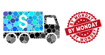 Mosaic money delivery and grunge stamp watermark with By Monday phrase. Mosaic vector is composed from money delivery icon and with scattered circle spots. By Monday stamp seal uses red color,