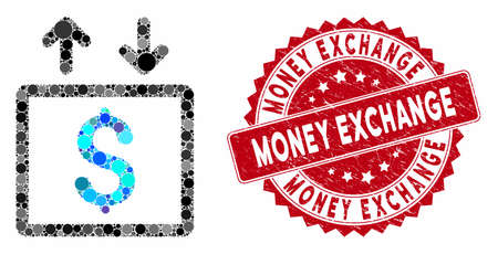 Mosaic money elevator and grunge stamp seal with Money Exchange caption. Mosaic vector is formed from money elevator icon and with randomized round elements. Money Exchange stamp seal uses red color,