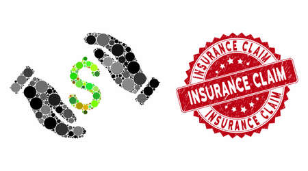 Mosaic money insurance hands and grunge stamp watermark with Insurance Claim text. Mosaic vector is created with money insurance hands icon and with scattered circle items.