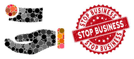 Mosaic money payment and distressed stamp watermark with Stop Business caption. Mosaic vector is designed with money payment icon and with random spheric elements. Stop Business stamp uses red color,