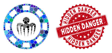Mosaic monster casino chip and grunge stamp seal with Hidden Danger caption. Mosaic vector is formed with monster casino chip icon and with randomized circle items.