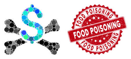 Mosaic mortal debt and grunge stamp seal with Food Poisoning caption. Mosaic vector is composed with mortal debt icon and with scattered round spots. Food Poisoning stamp seal uses red color,