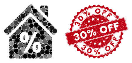 Mosaic mortgage discount and grunge stamp seal with 30% Off phrase. Mosaic vector is created with mortgage discount icon and with scattered circle items. 30% Off stamp uses red color,