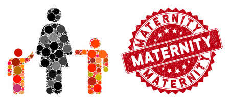 Mosaic mother and children and distressed stamp seal with Maternity caption. Mosaic vector is created with mother and children icon and with scattered round items. Maternity stamp seal uses red color,