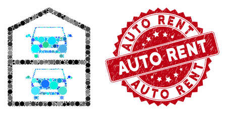 Mosaic multi-storey car park and distressed stamp seal with Auto Rent text. Mosaic vector is formed with multi-storey car park icon and with random circle items. Auto Rent stamp seal uses red color,