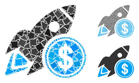 Dollar rocket composition of joggly elements in different sizes and color tones, based on dollar rocket icon. Vector uneven elements are combined into collage.