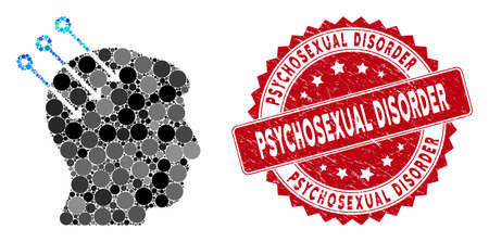 Mosaic neural interface connectors and rubber stamp seal with Psychosexual Disorder text. Mosaic vector is created with neural interface connectors icon and with random round spots.