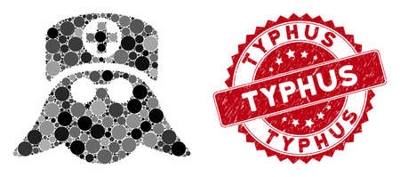 Collage nurse head and rubber stamp watermark with Typhus phrase. Mosaic vector is designed with nurse head icon and with scattered round spots. Typhus stamp uses red color, and rubber texture.