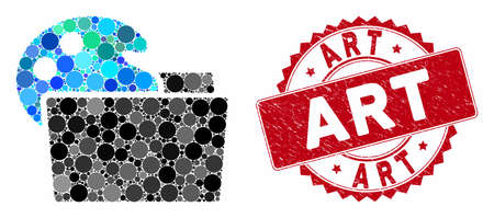 Mosaic open palette folder and rubber stamp seal with Art caption. Mosaic vector is created with open palette folder icon and with scattered circle spots. Art stamp seal uses red color, Illusztráció