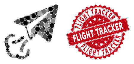Mosaic paper plane start and distressed stamp seal with Flight Tracker caption. Mosaic vector is composed with paper plane start icon and with randomized spheric items.