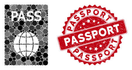 Mosaic passport and grunge stamp seal with Passport text. Mosaic vector is formed with passport icon and with random round items. Passport stamp seal uses red color, and dirty surface. Иллюстрация