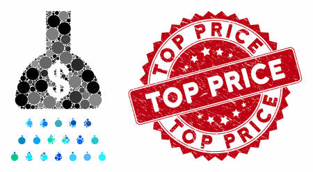 Mosaic payment shower and grunge stamp seal with Top Price text. Mosaic vector is formed from payment shower icon and with randomized round spots. Top Price stamp seal uses red color,