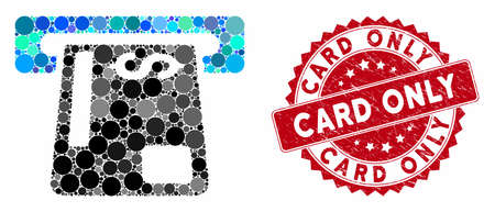 Mosaic payment terminal and corroded stamp seal with Card Only caption. Mosaic vector is formed with payment terminal icon and with scattered spheric items. Card Only stamp seal uses red color, Çizim