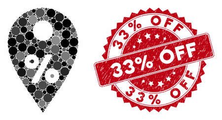 Mosaic percent map marker and rubber stamp seal with 33% Off text. Mosaic vector is formed from percent map marker icon and with scattered circle elements. 33% Off stamp seal uses red color,