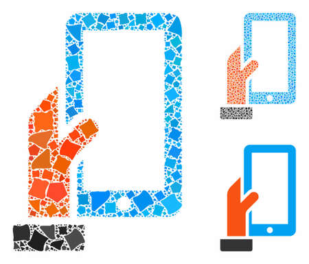 Hold smartphone composition of unequal parts in various sizes and shades, based on hold smartphone icon. Vector inequal parts are grouped into composition. Stock Illustratie