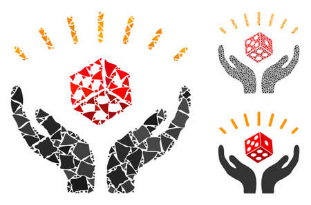Dice win hands mosaic of abrupt items in various sizes and color hues, based on dice win hands icon. Vector trembly items are combined into mosaic. Dice win hands icons collage with dotted pattern.