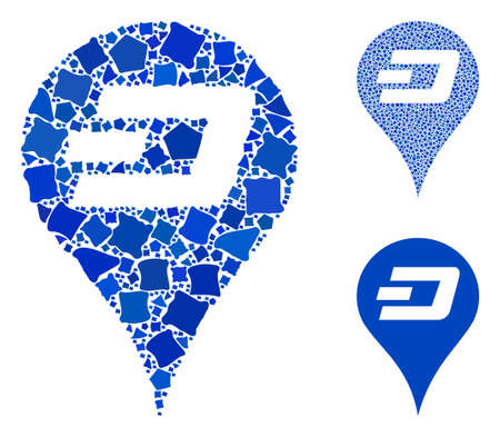 Dashcoin map pointer mosaic of abrupt pieces in different sizes and shades, based on Dashcoin map pointer icon. Vector inequal pieces are composed into mosaic. Ilustração