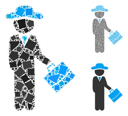 Gentleman manager composition of unequal pieces in different sizes and color tinges, based on gentleman manager icon. Vector raggy pieces are combined into collage. Ilustracja