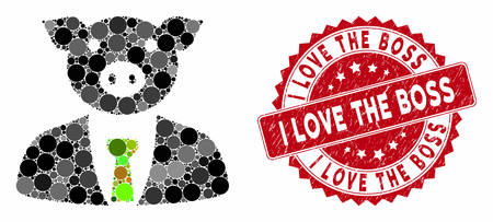 Mosaic pig boss and rubber stamp seal with I Love the Boss text. Mosaic vector is created with pig boss icon and with randomized spheric spots. I Love the Boss stamp seal uses red color,