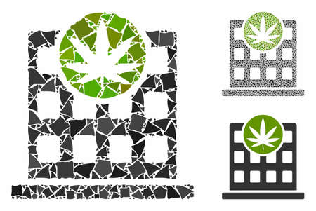 Cannabis building composition of ragged elements in various sizes and color hues, based on cannabis building icon. Vector uneven elements are composed into illustration. Ilustração