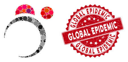 Mosaic planet system and grunge stamp seal with Global Epidemic text. Mosaic vector is composed with planet system icon and with scattered round elements. Global Epidemic stamp uses red color,