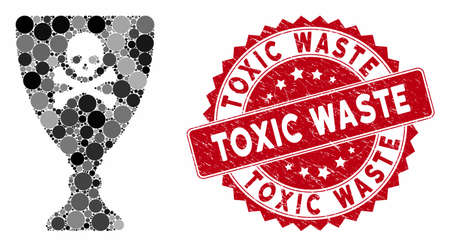 Mosaic poison cup and corroded stamp seal with Toxic Waste phrase. Mosaic vector is created with poison cup icon and with randomized round items. Toxic Waste stamp seal uses red color,