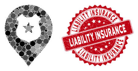 Mosaic police guard marker and corroded stamp seal with Liability Insurance text. Mosaic vector is composed with police guard marker icon and with scattered circle items. Stock Illustratie