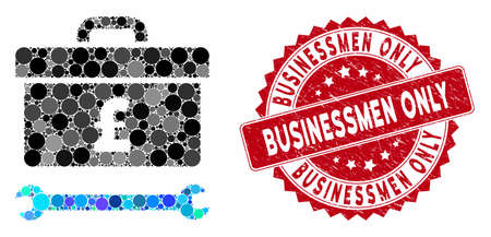Mosaic pound toolbox and distressed stamp seal with Businessmen Only phrase. Mosaic vector is formed with pound toolbox icon and with random circle spots. Businessmen Only stamp uses red color,