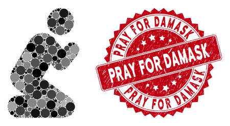 Mosaic pray pose and corroded stamp seal with Pray for Damask phrase. Mosaic vector is created with pray pose icon and with randomized circle elements. Pray for Damask stamp seal uses red color,