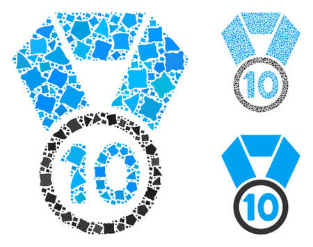 10th place medal composition of ragged items in variable sizes and shades, based on 10th place medal icon. Vector inequal pieces are united into composition.