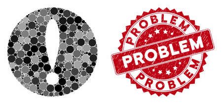 Collage problem and corroded stamp seal with Problem phrase. Mosaic vector is composed with problem icon and with scattered round elements. Problem stamp seal uses red color, and grunged texture. 向量圖像