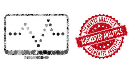 Mosaic pulse chart and grunge stamp seal with Augmented Analytics text. Mosaic vector is composed with pulse chart icon and with random round elements. Augmented Analytics stamp seal uses red color, Illusztráció