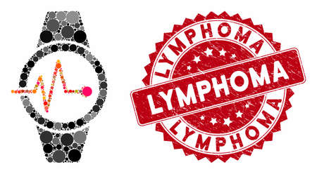 Mosaic pulse watches and grunge stamp seal with Lymphoma text. Mosaic vector is composed from pulse watches icon and with random spheric items. Lymphoma stamp uses red color, and grunge surface. Illustration