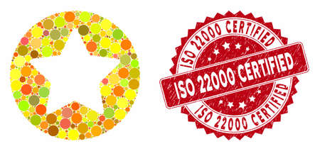 Mosaic rounded star and corroded stamp watermark with ISO 22000 Certified caption. Mosaic vector is formed with rounded star icon and with scattered round spots. Çizim