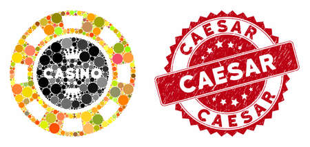 Mosaic royal casino chip and grunge stamp seal with Caesar text. Mosaic vector is created from royal casino chip icon and with randomized round items. Caesar stamp uses red color, and grunge texture.