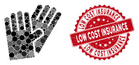 Mosaic rubber gloves and distressed stamp seal with Low Cost Insurance phrase. Mosaic vector is designed with rubber gloves icon and with scattered round spots. 일러스트