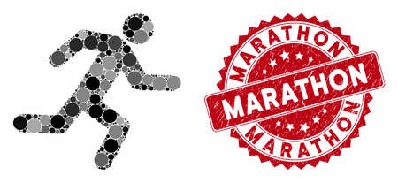 Mosaic running man and rubber stamp seal with Marathon text. Mosaic vector is designed with running man icon and with scattered spheric elements. Marathon seal uses red color, and scratched design.