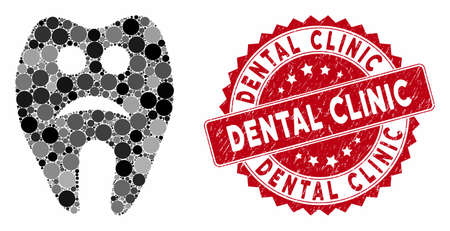 Mosaic sad tooth and distressed stamp watermark with Dental Clinic caption. Mosaic vector is designed with sad tooth icon and with randomized round elements. Dental Clinic stamp uses red color,