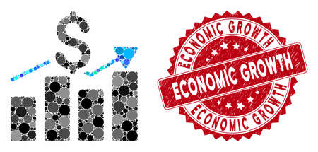 Mosaic sales bar chart and rubber stamp watermark with Economic Growth text. Mosaic vector is composed with sales bar chart icon and with scattered spheric elements.