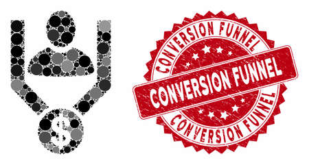 Mosaic sales funnel and rubber stamp seal with Conversion Funnel caption. Mosaic vector is designed with sales funnel icon and with random spheric spots. Conversion Funnel stamp seal uses red color,
