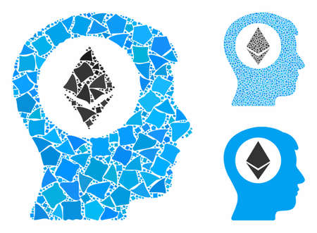 Ethereum mind mosaic of tremulant pieces in variable sizes and shades, based on Ethereum mind icon. Vector rough pieces are combined into mosaic. Ethereum mind icons collage with dotted pattern.
