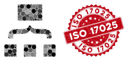 Mosaic scheme and corroded stamp seal with ISO 17025 text. Mosaic vector is formed from scheme icon and with scattered circle spots. ISO 17025 stamp seal uses red color, and grunge design.