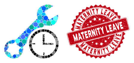 Collage service time and grunge stamp seal with Maternity Leave caption. Mosaic vector is composed with service time icon and with random round elements. Maternity Leave stamp seal uses red color,