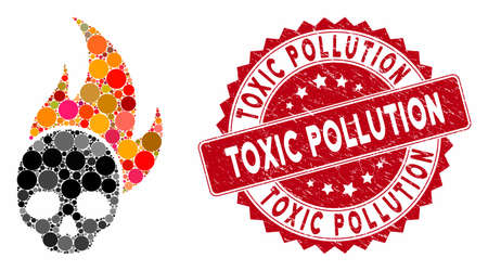 Mosaic skull fire and rubber stamp seal with Toxic Pollution text. Mosaic vector is formed with skull fire icon and with scattered circle spots. Toxic Pollution stamp uses red color, Ilustração