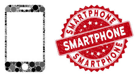 Mosaic smartphone and rubber stamp watermark with Smartphone text. Mosaic vector is designed with smartphone icon and with randomized circle elements. Smartphone stamp seal uses red color,