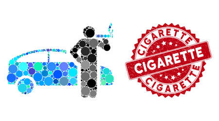 Mosaic smoking taxi driver and corroded stamp watermark with Cigarette caption. Mosaic vector is created with smoking taxi driver icon and with random round elements.