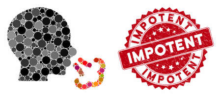 Mosaic sneezing and corroded stamp seal with Impotent caption. Mosaic vector is created with sneezing icon and with random circle items. Impotent seal uses red color, and distress design. Illusztráció