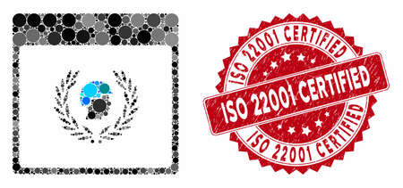 Mosaic soldier laurel wreath calendar page and corroded stamp seal with ISO 22001 Certified text. Ilustração